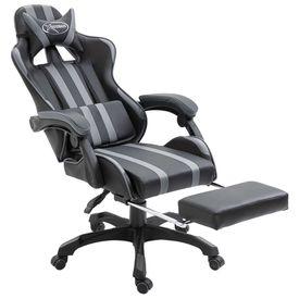 Scaun pentru jocuri cu suport de picioare, gri, PU