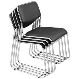 Set 4 bucati scaun birou, conferinta, 77 x 51 cm, piele sintetica, negru