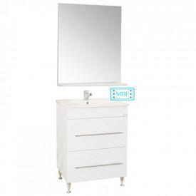 Set Baza, lavoar baie GN0541 cu sertare si oglinda GN0551 - 60 cm alb