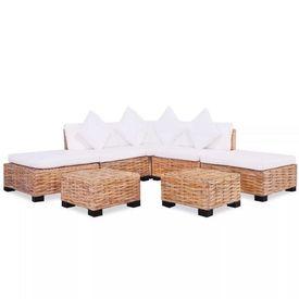 Set canapea, 18 piese, ratan natural