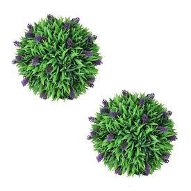 Set de 2 sfere de iarbă artificială și lavandă 36 cm