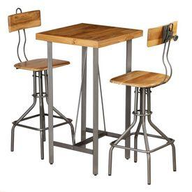 Set de bar, 3 piese, lemn masiv de tec reciclat