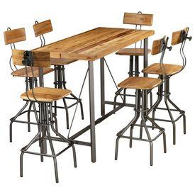 Set de bar, 7 piese, lemn masiv de tec reciclat