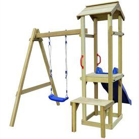 Set de joacă leagăn și tobogan, 228x168x218 cm, lemn de pin FSC