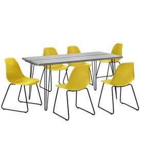 Set design masa bucatarie cu 6 scaune, 160 x 75 x 77cm, efect beton/galben-mustar