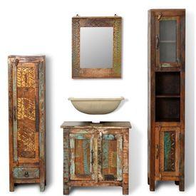 Set Dulap din Lemn Reciclat cu Oglindă şi 2 Dulapuri Laterale
