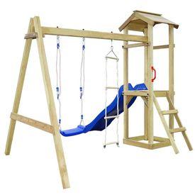 Set joacă din lemn cu tobogan, scări, leagăn 242x237x218cm FSC