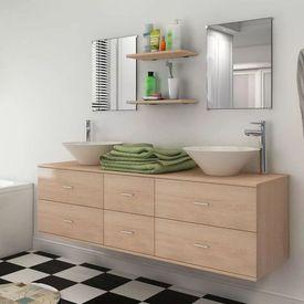 Set mobilier baie format din 7 piese cu chiuvete incluse, Bej