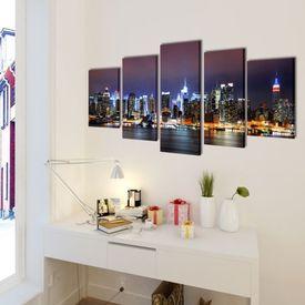 Set tablouri de pânză panoramă New York 200 x 100 cm, color