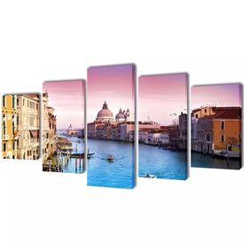 Set tablouri din pânză cu imprimeu Veneția, 100 x 50 cm