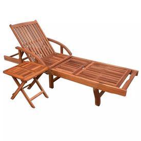 Șezlong cu masă laterală, lemn de acacia, reglabil