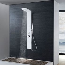 Sistem panel de duș din aluminiu, alb mat