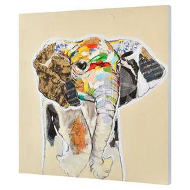 Tablou pictat manual - elefant Model 60 - panza in, cu rama ascunsa - 80x80x3,8cm