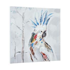 Tablou pictat manual - kakadu - panza in, cu rama ascunsa - 50x50x2,8cm