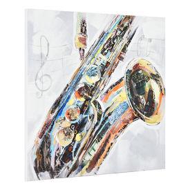Tablou pictat manual - saxofon - panza in, cu rama ascunsa - 100x100x3,8cm