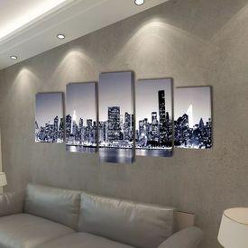 Tablouri pânză imprimate monocrome, panorama New York 100 x 50 cm