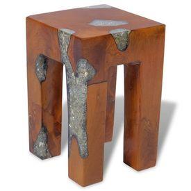 Taburet din lemn de tec și rășină, 30 x 30 x 40 cm