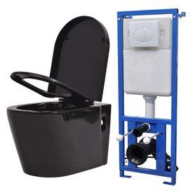 Vas toaletă suspendat cu rezervor încastrat, ceramică, negru
