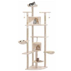 vidaXL Ansamblu pisici cu stâlpi din funie sisal, 203 cm, bej și alb