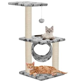vidaXL Ansamblu pisici cu stâlpi funie sisal 65 cm imprimeu lăbuțe gri