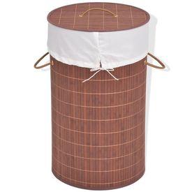vidaXL Coș de rufe din bambus, rotund, maro