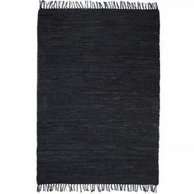 vidaXL Covor Chindi țesut manual Piele 190 x 280 cm Negru