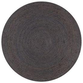 vidaXL Covor manual, gri închis, 150 cm, iută, rotund