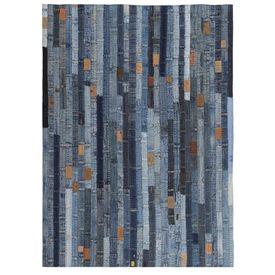 vidaXL Covor petice jeans 80x150 cm Albastru denim