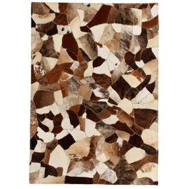 vidaXL Covor piele naturală, mozaic, 120x170 cm Maro/alb