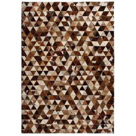 vidaXL Covor piele naturală, mozaic, 120x170 cm Triunghiuri Maro/alb