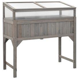 vidaXL Jardinieră înălțată cu seră, 120x54x120 cm, lemn de brad