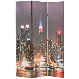 vidaXL Paravan cameră pliabil, 120x180 cm, New York pe timp de noapte