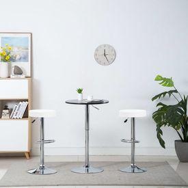 vidaXL Scaune bar rotative, 2 buc., alb, 39x39x82 cm, imitație piele