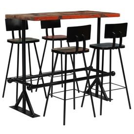 vidaXL Set de bar, 5 piese, lemn masiv reciclat, multicolor