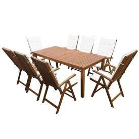 vidaXL Set mobilier de exterior, 17 piese, lemn masiv de acacia