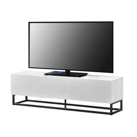 Comoda TV cu LED AANT-0331, 140 x 35 x 41 cm, MDF/metal, cu 2 dulapuri, alb lucios/negru