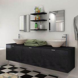 Set mobilier baie format din 8 piese cu chiuvete incluse, Negru
