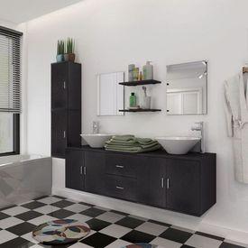 Set mobilier baie format din 9 piese cu chiuvete incluse, Negru