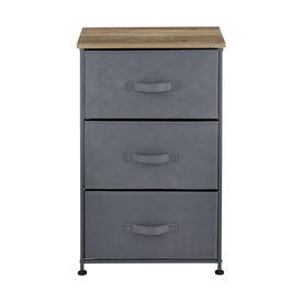 Comoda cu sertare Dona, 73 x 45 x 30 cm, metal/poliester/MDF, gri/efect lemn, cu 3 sertare