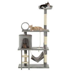 Ansamblu de joacă pisici, cu stâlpi funie sisal, 140 cm, gri