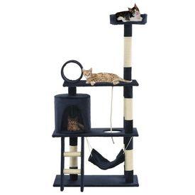 Ansamblu de joacă pisici, stâlpi sisal, 140 cm, albastru închis