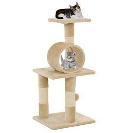 Ansamblu pentru pisici, stâlpi cu funie de sisal, 65 cm, bej