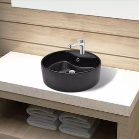 Bazin chiuvetă ceramică baie cu gaură robinet/preaplin, rotund, negru