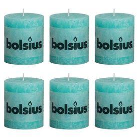 Bolsius Lumânări bloc rustice 6 buc, 80 x 68 mm, albastru marin