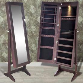 Cabinet maro pentru bijuterii cu suport, oglindă și lampă LED