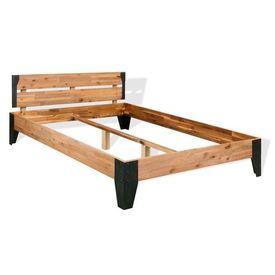 Cadru pat cu 2 noptiere, lemn masiv acacia și oțel, 180x200 cm