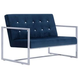 Canapea cu 2 locuri cu brațe, albastru, crom și catifea