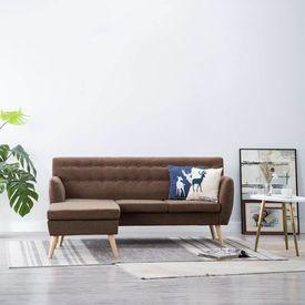 Canapea formă L, tapițerie textilă,171,5 x 138 x 81,5 cm, maro