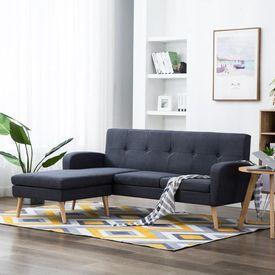 Canapea în formă L, material textil, 186x136x79 cm, gri închis