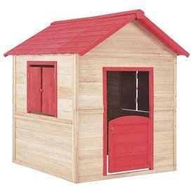 Căsuță de joacă pentru copii, roșu, lemn